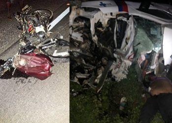 Ambulância do Estado da Bahia colide com motocicleta e deixa um saldo de três pessoas mortas