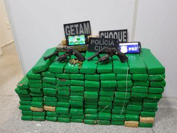 Ação integrada das Polícias Civil, Militar e Rodoviária Federal resultou na prisão de casal e apreensão de cerca de 100 quilos de maconha