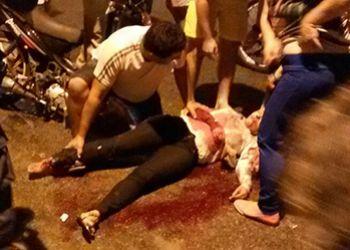Tr�nsito: Mulher sofre fraturas expostas em acidente no centro da cidade de Itabaiana
