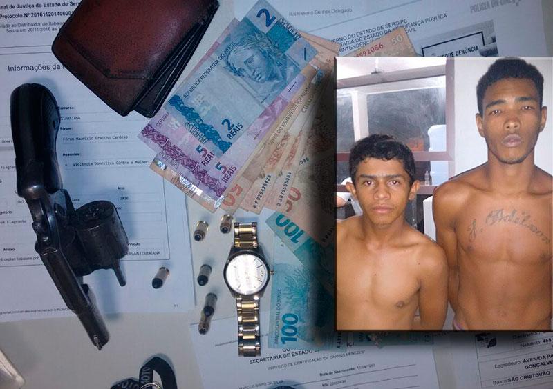 dupla revólver dinheiro relógio Itabaiana Sergipe