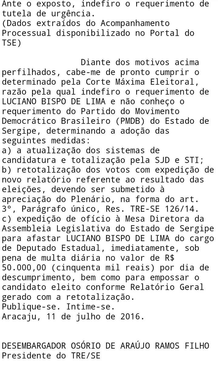 cassação mandato Luciano Bispo de Lima PMDB