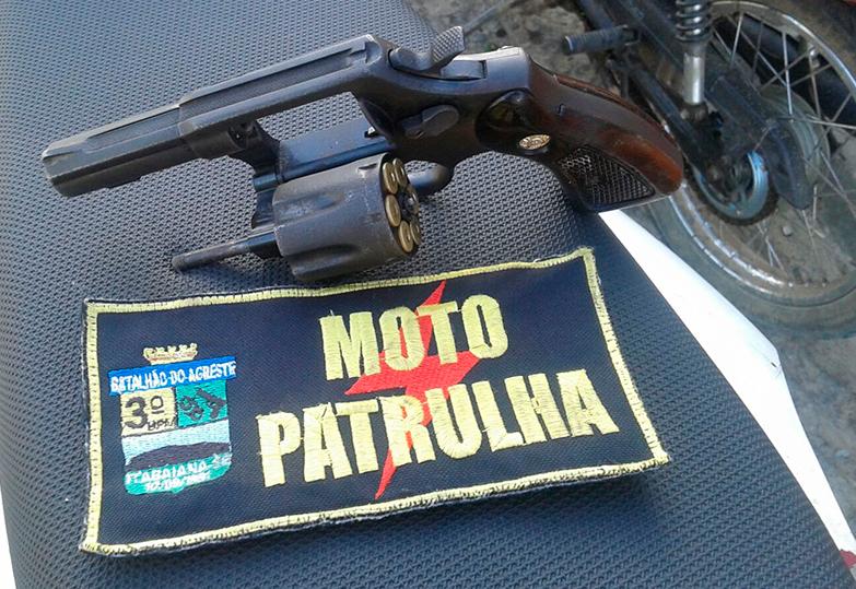 revólver calibre 38 apreensão PM Itabaiana Sergipe