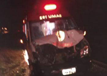 Ambulância do SAMU 192, USB Itabaiana, se envolve em acidente na BR-235