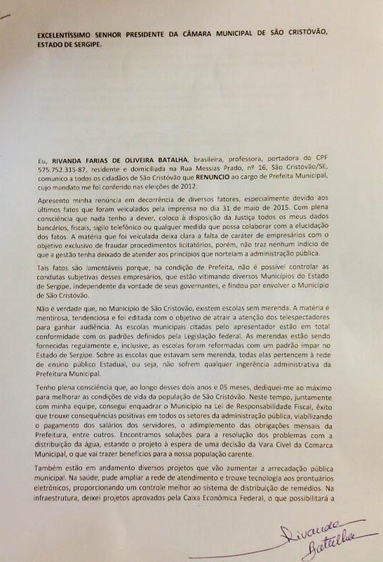 carta renúncia Prefeita São Cristóvão Sergipe