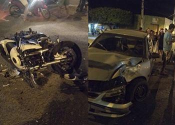 Colis�o envolvendo motocicleta e carro � registrado por c�meras de seguran�a na cidade de Itabaiana