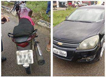 Colisão na BR-235 envolvendo motocicleta e carro deixa idoso lesionado
