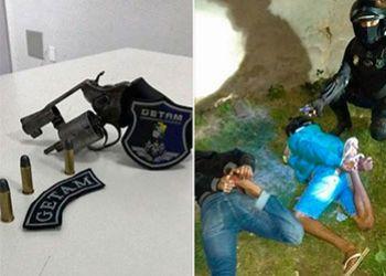 Jovens são flagrados com arma de fogo em abordagem da Polícia Militar