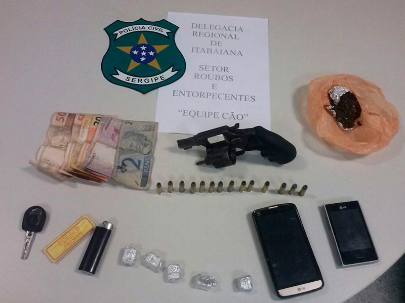 prisões jovens Itabaiana Sergipe arma de fogo maconha