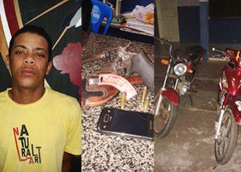 Jovem � preso pela Pol�cia Militar ap�s ser abordado com arma de fogo e motocicleta roubada