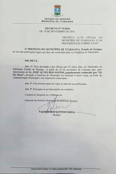 luto oficial Itabaiana Sergipe Zé de Dona