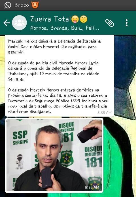 whatsapp presos tirando delegado Marcelo Hercos